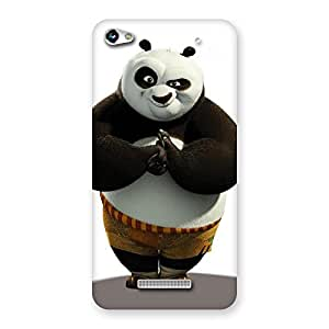 Delighted Punching Panda White Black Back Case Cover for Micromax Hue 2