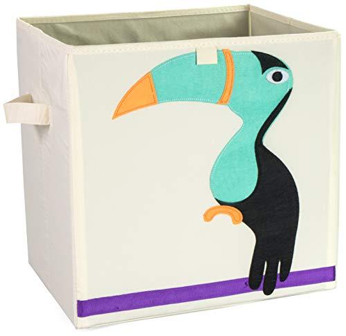 Grinscard Spielzeugkiste mit Griffen im Tukan Design - Größe L ca. 34 x 33 x 33 cm - Spielkiste zur Spielzeug Aufbewahrung