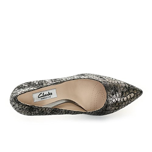 Clarks Dinah Keer Damen Pumps Grau (Metallic Leather)
