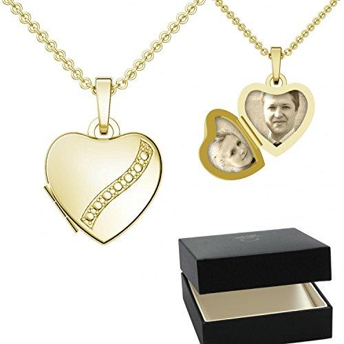 Herzkette ❤❤❤ Damen-Kette Halskette Foto Gelbgold vergoldet Herz-Anhänger goldenes Gold-Kette farben zum Öffnen aufklappbar Medallion Medalion Medaillons Amulett FF03 VGGG45 (Gold Medaillon Halskette)
