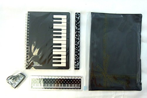 Music Themed Zipper Pouch Stationery Set - Black Piano Keys Spiral Bound Notebook, 15cm Ruler, Eraser and 2 Pencils