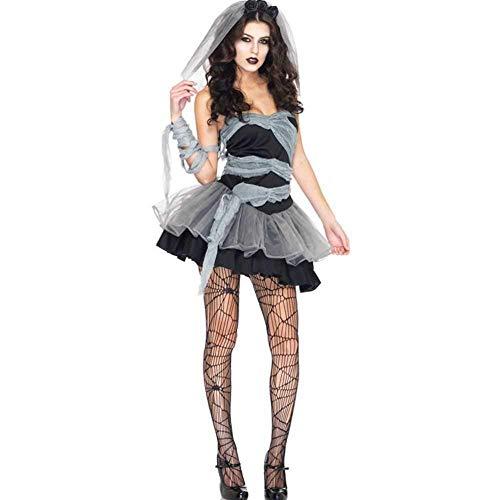 Lady Kostüm Sensenmann Womens - GWNJSSX Graveyard Bride Halloween Womens Kostüm,Karneval Corpse Kleid Damen Schwarzer Spitze Cosplay Kostümparty Kleid and Schleier,Black-M