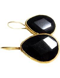 BRANDELIA Pendientes Colgantes Forma Gota de Lágrima con Piedra Semipreciosa Negra Facetada (Corte Diamante) 24K Baño de Oro