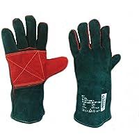 Profesional y duradero, reforzado, cuero de vaca forrado de piel de vaca guantes de soldadura tamaño 11 CE, Cat II EN388 4244, EN407 423X4X guantes para jardinería, camping, estufa, chimenea, horno