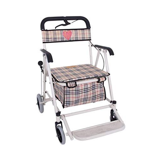 Yuany Altes Mann-Auto vierrädrig mit einem leichten faltenden Rollstuhl, Wanderer, älterer EinkaufsEinkaufswagen