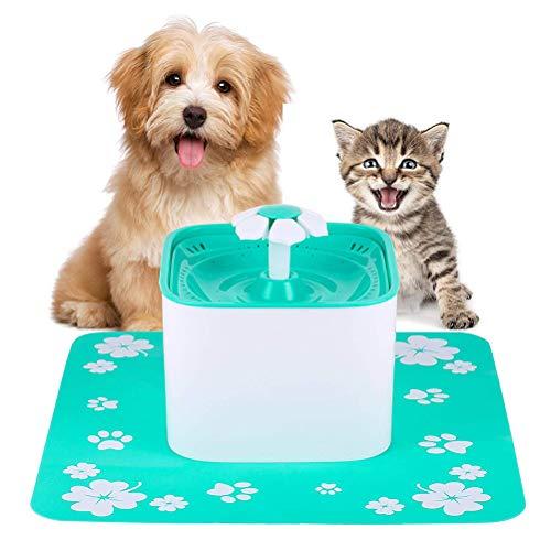 Tierbrunnen, automatischer Wasserverteiler für Hunde und Katzen, auswechselbarer Filter für Gesundheit und Hygiene, leise und praktisch, geringer Verbrauch, 2 Liter Inhalt, hellgrün