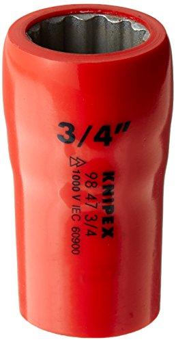 """Knipex 98 47 3/4 Steckschlüsseleinsatz 1/2"""", Länge in mm: 55 rot"""