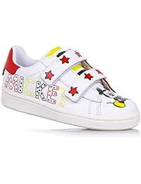 MOA - Zapato blanco y rojo de cuero, con doble cierre de velcro, con motivo de lunares y decoraciones de Mickey Mouse, Niño, Niños