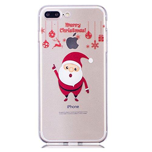 iPhone 7 Plus Copertura,Merry Christmas Pattern Ultra sottile Custodia in TPU Gel [Transparent] Copertura posteriore in gomma flessibile Copertura protettiva Case for iPhone 7 Plus colour 6