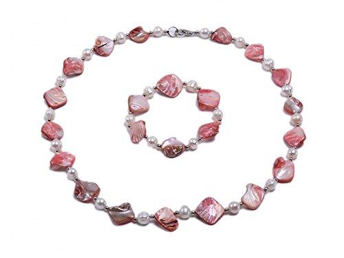JYX Perlenkette Set Süßwasserperlen Weiß & Rosa Seashell-teilig Halskette und Armband Set