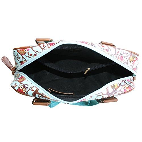 Miss LuLu Modern Schultaschen Cross-Body Tasche Schule Öltuch Handbag Wasserdicht Damen L1106-Eule/Blau