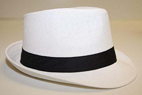 Chapeau Style Panama Mixte Homme Femme Pliable Maille Rigidifié Blanc