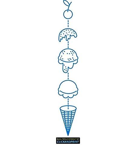 CLICKANDPRINT Aufkleber » Icecream , 320x47,8cm, Euroblau • Dekoaufkleber / Autoaufkleber / Sticker / Decal / Vinyl