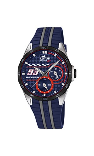 Lotus Marc Marquez Collection 2016 Unisex Quartz Watch with Blue Dial Analogue Display and Black Rubber Strap 18260/2