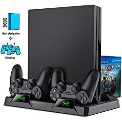 BEBONCOOL Support PS4 avec Ventilateur du Refroidissement, Support Manette PS4 pour PS4 Slim / PS4 Pro, Support Vertical PS4 Dualshock 4 Fast Charging Base, Socle PS4 Gaming Console Cooling Fan