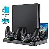PS4 Vertical Stand, BEBONCOOL All-in-One PS4 Vertikaler Standfuß Ständer Halter Lüfter für Playstation 4 Pro/Slim, PS4 Controller Ladesation Dualshock 4 Ladestation für PS4/PS4 Slim/PS4 Pro Controller