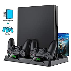 PS4 Vertical Stand, BEBONCOOL All-in-One PS4 Vertikaler Standfuß Ständer Halter Lüfter für Playstation 4 Pro/Slim, PS4…