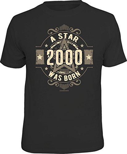 RAHMENLOS Original Geschenk T-Shirt Zum 18. Geburtstag: 2000 A Star was Born L