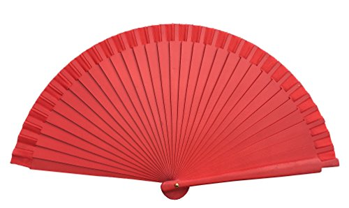 La Señorita Abanico Flamenco Madera Colores Diferentes Vestido Español (Rojo)