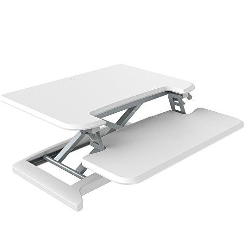 euroseats Steh-Sitz-Workstation klein | 68,6cm Ergonomischer Höhenverstellbarer Schreibtisch Riser gerade nach oben 4,7Zu 449,6cm, MDF, Metall weiß, 71x 70x 12cm