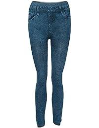 SANFASHION Pantalons Cotton Femmes Leggings Cowboy Imitation Fitness Taille  Haut Slim 33187989aec0
