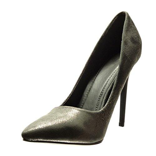 Angkorly Scarpe Moda scarpe decollete stiletto sexy donna lucide Tacco Stiletto alto 11 CM Grigio