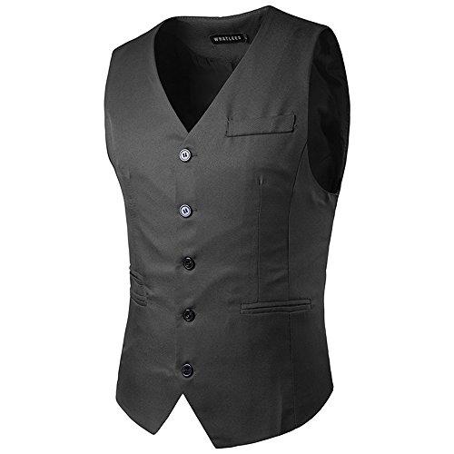 2017 Neu Sunshey Herren Slim Fit Anzugweste M17 mit 5 Knöpfen vorne und halbem Gürtel hinter für Business fest Hochzeit super Qualität und Einfarbig Dunkelgrau
