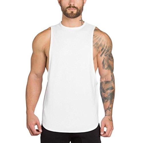 Huihong Unterhemden Tank Tops für Herren Baumwolle Fitness Studios Bodybuilding Fitness Muskel Shirt Sport Strand Schwimmen Singulett T Shirt Top Weste Tank Bluse (Weiß, M)
