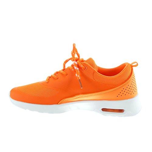 Angkorly - Scarpe da Moda Sneaker Tennis donna intrecciato perforato Tacco tacco piatto 3.5 CM Arancione