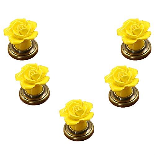 fbshop (TM) 5x Gelb Vintage Floral Rose Form Keramik Türknauf/Pull/Griff für Küche Schrank Schublade Schrank Brust, Vintage Kommode, Kleiderschrank & Baby Kid 's Kinder Möbel Decor -