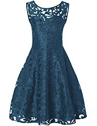 f5d1e4438a RoseGal Plus Size Lace Overlay Cocktail A Line Vintage Swing Dress for Women