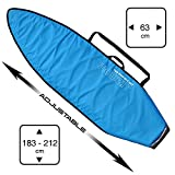 HOWZIT - Housse Surf Ajustable de 6'0 à 7'0 Bleu - Convient aux Surfs Shortboard, Fish, Hybrid de 6'0 à 7'0