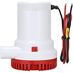 Bomba eléctrica sumergible NUZAMAS para agua de cloaca 2000GPH, 12 V, caudal de 7566 litros/hora, diámetro de salida de 29 mm, para caravanas, acampadas, barco de pesca marítima, piscinas pequeñas y fuentes