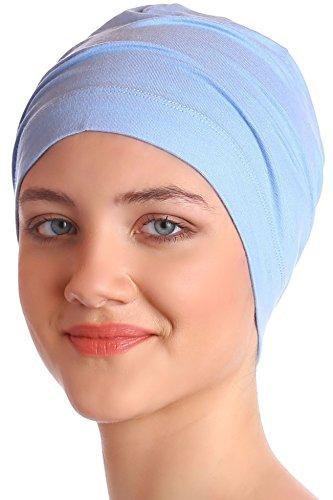 Deresina Headwear Schlafmütze Aus Baumwolle für Krebs, Haarverlust (Himmelblau) (Glatze-mütze)