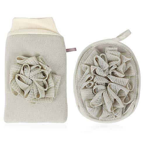 Peelinghandschuh rau für Körper Gesicht - 2 IN 1 Premium Peeling Handschuh Badeschwamm set aus Pflanzenfaser, reinigt porentief Massagehandschuh Wellness Handschuh für Körperpeeling, Hamam, Dusch -