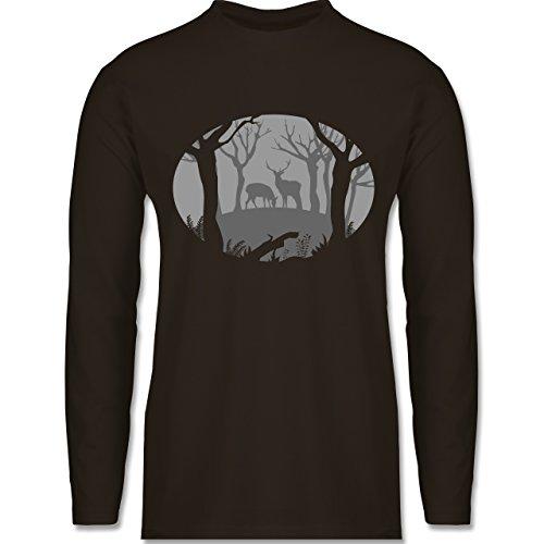 Wildnis - Hirsche - Longsleeve / langärmeliges T-Shirt für Herren Braun