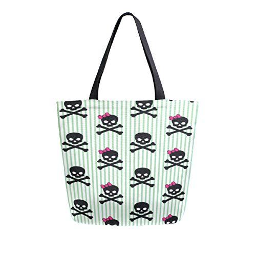 Schädel und giftiges Zeichen tragbare große doppelseitige beiläufige Segeltuch Einkaufstaschen Handtaschen Schulter wiederverwendbare Einkaufstaschen Seesack Geldbeutel Mann Lebensmittelgeschäft