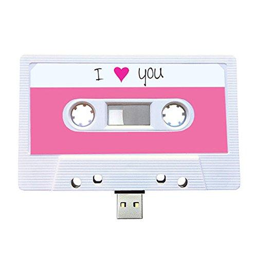 USB, diseño de casete retro, Quirky, música, fresco, lindo, amor, regalo, novio, novia, 80s, 90s, Gadget, Geek, oficina, novedad, cumpleaños, boda, aniversario, Valentines, Navidad, regalos para ella, regalos para él, Thoughtful, unidad flash, subir canciones, fotos y vídeos (16.0GB)