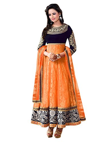 1 Stop Fashion Orange Velvet & Net Semi-Stitched Anarkali Suit