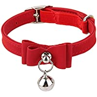 HASTHIP® Adjustable Bell Buckle Velvet Neck Strap for Kitten Cat 13.8inch - Red