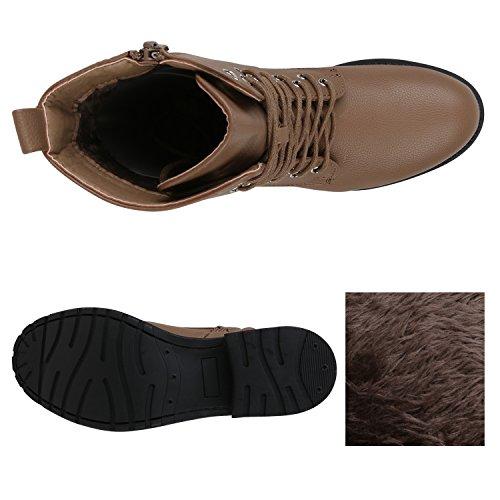 Stiefelparadies Damen Stiefeletten Worker Boots Spitze Stiefel Schuhe Flandell Khaki Schnüre Brito