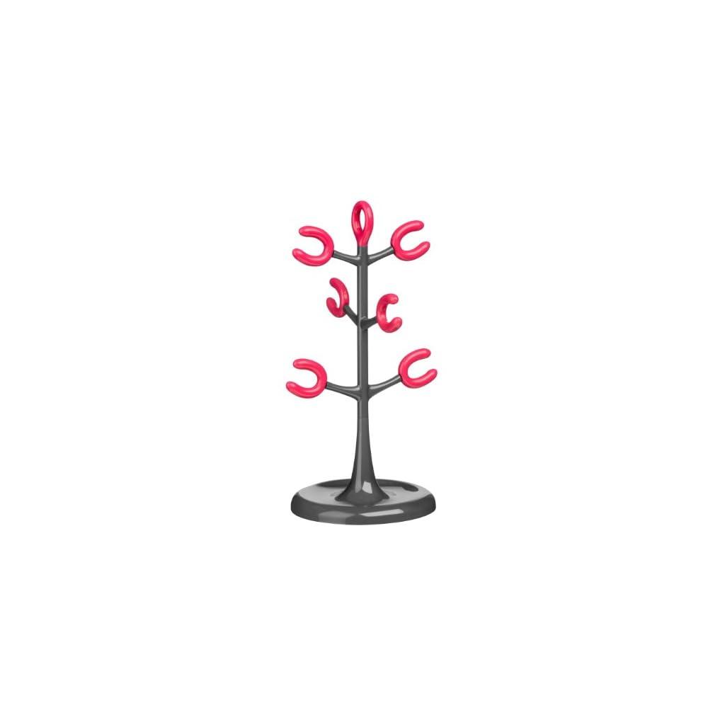 Premier Housewares 6 Cup Mug Tree - Grey/Hot Pink