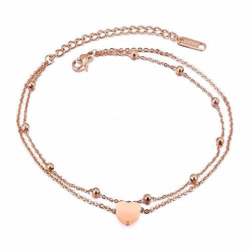 Kim Johanson Edelstahl Damen Fußkettchen *Heart* in Roségold mit Einem Starken Karabinerverschluss inkl. Schmuckbeutel