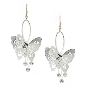 Dressy Plain Silver Butterfly and Crystal Dangling Earrings - Ladies Jewellery Studs - Free Gift Pouch / Box - E0025-SILVER