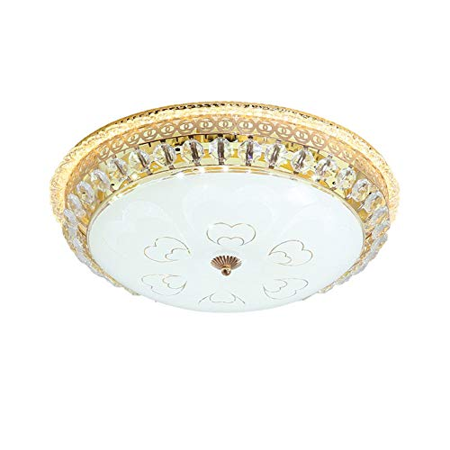 TANMIN Europäische Kristall Deckenleuchte, LED Runde 3-Farbige Dimmbare Unterputzbeleuchtung Für Schlafzimmer Flur Wohnzimmer,40cm - Schnitt Glas Tönen