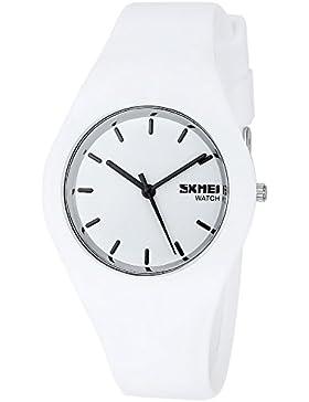 Armbanduhr für Herren oder Damen,Weiß Zifferblatt,Weich Silikon Armband Unisex Uhren