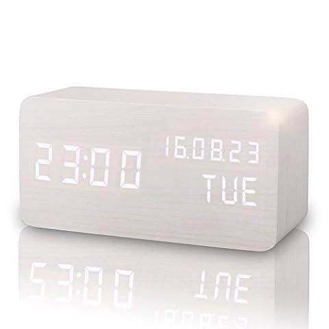 Digitaler Wecker Hölzerner, Leise LED-Anzeige Einstellbare Helligkeit / Sound Control, Tischuhr Indikator Kalender Zeit und Temperatur für Haus und Büro