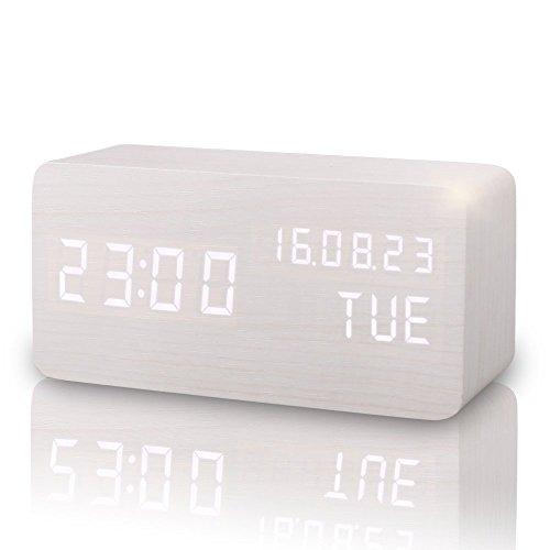 Digitaler Wecker Hölzerner, Leise LED-Anzeige Einstellbare Helligkeit / Sound Control, Tischuhr Indikator Kalender Zeit und Temperatur für Haus und Büro (Weiß)