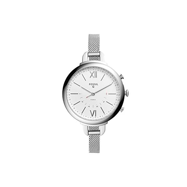 Fossil Q Annette Womens Hybrid Smartwatch Stainless Steel Case With Mesh Strap Compatible Android And IOS