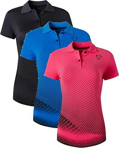 jeansian 3 Packs Damen Sport Poloshirt Polo Tee Shirt Tshirt T-Shirt Kurzarm Golf Tennis Badminton Dry Fit SWT251 PackE S